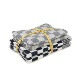 Set Textile Cuisine, Noir, 2x Serviette 50x50cm + 2x Torchon 65x65cm, Torchons Treb