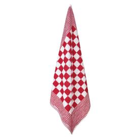 Toalha de Mãos, Bloco Vermelho e Branco, 52x55cm, Algodão, Treb Towels