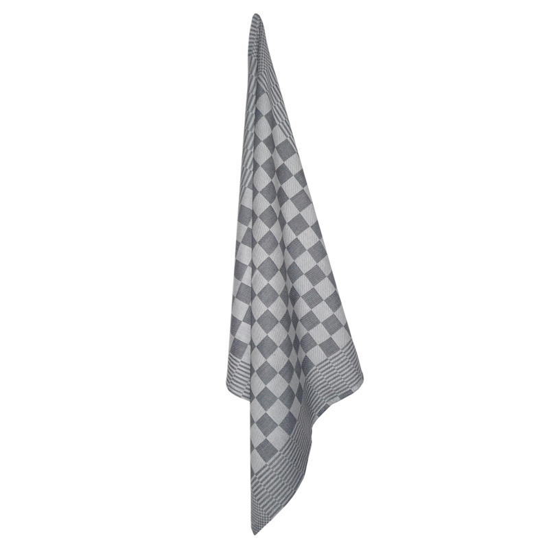 Theedoek, Zwart en Wit Geblokt, katoen, 70x70cm, Treb Towels