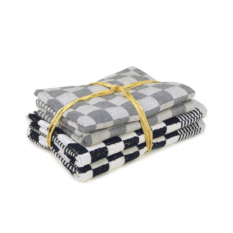 Juego de Textiles de Cocina, Negro, 2x Toalla 50x50cm + 2x Toalla de Cocina 65x65cm, Treb Towels