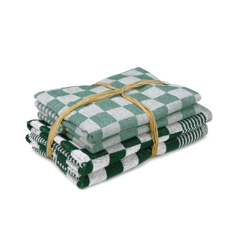 Keukenset, Groen, 2x Handdoek 50x50cm + 2x Theedoek 65x65cm, Treb Towels