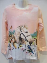 Longsleeve paard roze