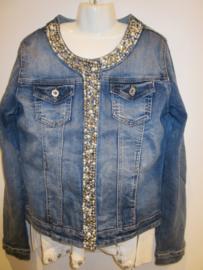Jeans jasje met studs en drukknopen