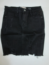 Jeans rok scheuren zwart