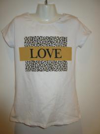 Shirt wit met print love oker