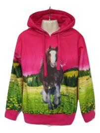 Paarden Sweater roze met 1 paard
