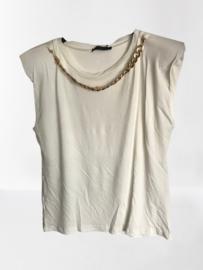 Shirt met ketting langs hals wit