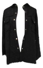 Blouse jas zwart met applicatie op achterkant