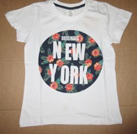 Shirt NY bloem / wit