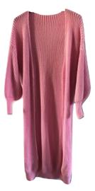 Vest roze lang gebreid