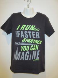 Shirt blauw run faster van J. Mirano