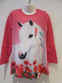 Longsleeve donker roze paard