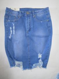 Jeans rok scheuren blauw