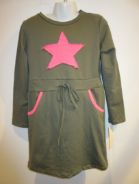 Jurk groen met roze ster