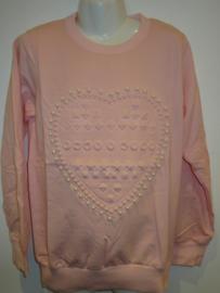 Sweater roze met parel hart