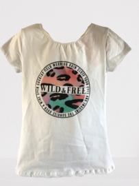 Shirt wit wild free print zalm/roze/groen