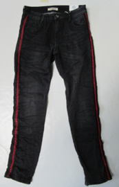 Karostar Jeans zwart met rode glitter bies
