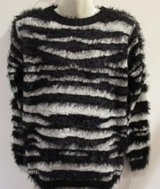 Trui zwart met zebra print