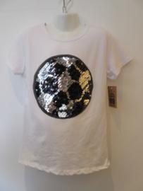 Voetbal shirt wit met omkeerbare pailetten