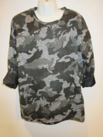 Longsleeve tuniek army grijs/zwart
