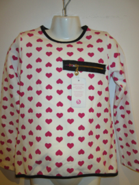 Sweater creme met roze hartjes