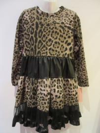 Panter jurk bruin zwart