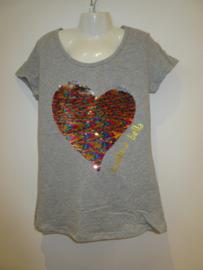 Shirt grijs met hart omkeerbare pailetten