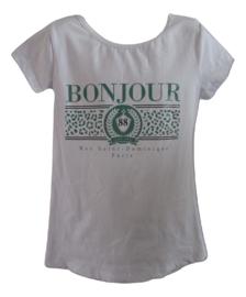 Shirt wit met bonjour in groen