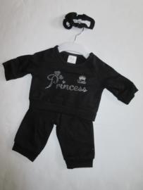 Baby pakje zwart princess met haarbandje