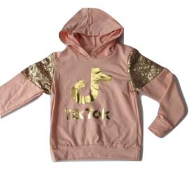 Tik Tok sweater met roze goud