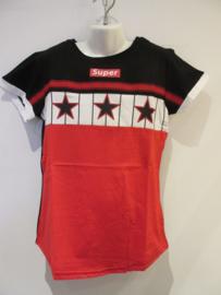 Shirt zwart/ rood sterren