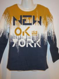 Longsleeve New York blauw/oker