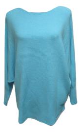 Ribbel trui blauw met vleermuis mouw