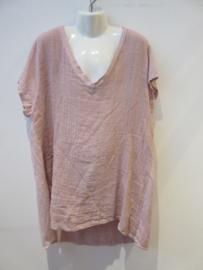 Shirt roze linnen