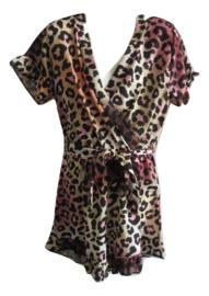 Jumpsuit print beige/roze/zwart