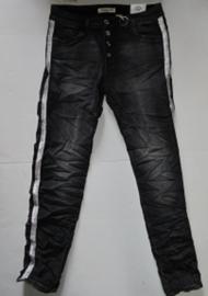 Karostar jeans vaal zwart/grijs met glitter bies