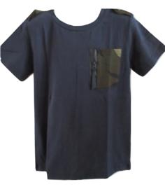 Shirt blauw met army zakje van J-Mirano