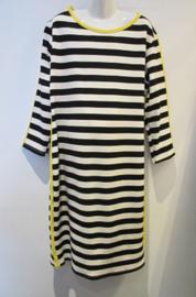 Jurk streep zwart/wit/geel