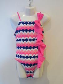 Badpak roze/blauw  met strik