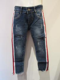 Jeans met bies rood/wit