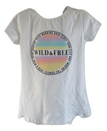 Shirt wit regenboog lila/groen/geel