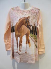 Longsleeve roze met bruin paard