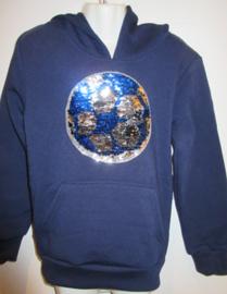 Sweater blauw voetbal met omkeerbare pailetten