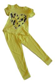 Broek + Shirt geel hart