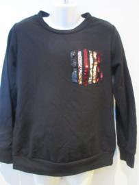 Sweater zwart met glitter  zakje