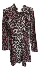 Jurk Zero leopard roze/zwart