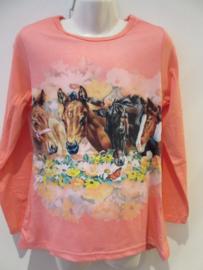 Longssleeve zalm/roze paard