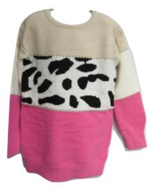 Trui  / jurk met panter  roze/zwart
