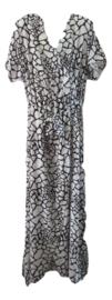 Lange jurk giraffe print wit/zwart