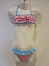 Bikini roze met bies blauw AA220